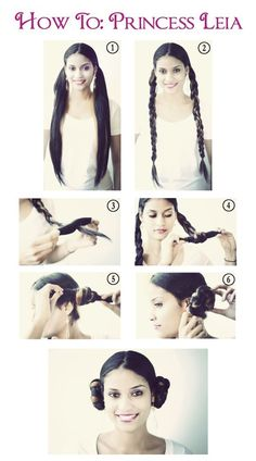 Lexi's Hair:: Halloween Princess Leia Step By Step! Twist the hair instead of braiding it for a movie-accurate style. Princess Hairstyles, Party Hairstyles, Celebrity Hairstyles, Girl Hairstyles, Famous Hairstyles, Wedding Hairstyles, Costume Leia, Costumes, Princess Leia Buns