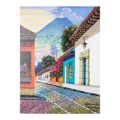 NOVICA Signed Street Scene of Antigua Guatemala in Oils ($140) ❤ liked on Polyvore featuring home, home decor, wall art, paintings, realist paintings, canvas wall art, novica paintings, colonial home decor, wall street art and spanish home decor