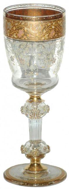 Gilded Floral Prunted Moser Glass Goblet