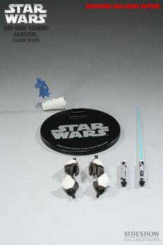 Sixth Scale Figure - Obi-Wan Kenobi: General - Clone Wars (Sideshow Exclusive - Hologram of Captain Rex!) #21751