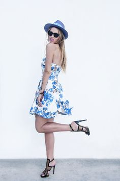 retro dress #retro #dress #hat #aperlai #sandals #floral #summer #chanel #bag
