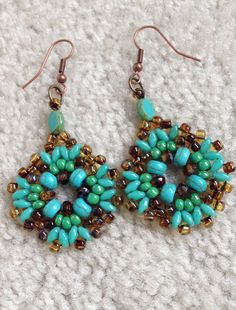 women beaded earrings handmade drop dangle earring teal by fatash1