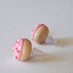 Pink Donut Earrings Hypoallergenic Studs by PitterPatterPolymer