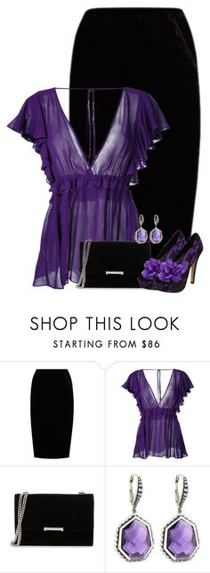 """""""Black & Purple Outfit"""" by majezy ❤ liked on Polyvore featuring Jupe By Jackie, Le Ciel Bleu, Ivanka Trump, Mojo Moxy and Stephen Dweck"""