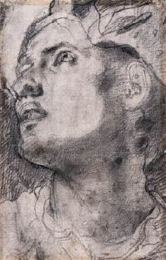 Study for a Portrait of a Youth - Jacopo Pontormo.  1520-21.  Black chalk drawing.  332 x 211 mm.  Galleria degli Uffizi, Florence, Italy.