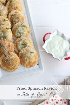 Fried Spinach Ravioli with feta and basil dip | Created by Diane