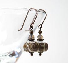 Earth Tone Lampwork Glass Earrings Ivory Khaki by lilicharms