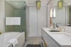 155 Waterkant - Second Bathroom - Nox Rentals Luxury Apartments, Exposed Beams, Apartment Design, Stone Archway, Lighting Design, Residential, Salt And Light, Holiday Apartments, Bathtub