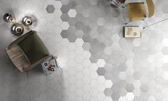 Ombre Hexagon Floor: Find the Perfect Mate: Italian Porcelain Collection @shopmissiontile