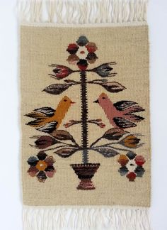 Rustic decor - Hand woven woolen rug - genuine traditional Romanian folk art, tree of life - 2 Tapestry Weaving, Loom Weaving, Hand Weaving, Flower Embroidery Designs, Weaving Projects, Cross Stitch Embroidery, Line Art, Rustic Decor, Folk Art