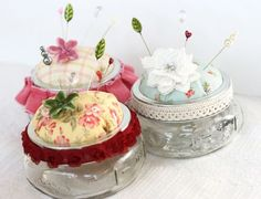 Cute storage jars for trinkets and papercrafting embellishments.