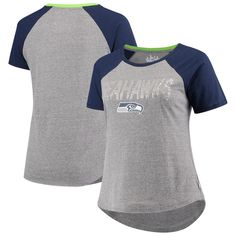 5c13343171b51 Seattle Seahawks Touch by Alyssa Milano Women s Plus Size Conference Tri-Blend  T-Shirt – Gray College Navy
