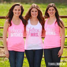 "Super cute ""Cheers Bitches"" and ""Future Mrs."" glittery bachelorette party shirts! #bachelorette"