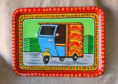 Boho Salver Home Decor. Kerala Mural Painting, Madhubani Painting, Creative Arts And Crafts, Kurti Neck, Indian Folk Art, Truck Art, Diy Notebook, Poster Colour, Plate Art