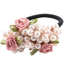 1 pcs Fashion Girls hair accessories rustic small fresh flower beaded pearl headband rubber band elastic hair bands(China)