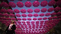 400 Pink Umbrellas In The Sky