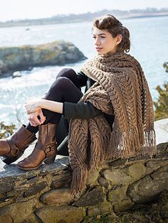 This large rectangular wrap was inspired by fisherman's sweaters. Textures and lace form the body of this comfy, oversized scarf.
