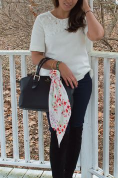 Timeless Optimist blog | pleated floral scarf from banana republic, outfit, womens fashion, silk scarf, spring, outfit ideas, ootd, classy, preppy, chic, for women, fashion, petite fashion, petite fashion blogger, fashion blogger