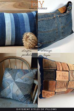 DIY Restyle - Denim Homebound All inspirational images Jean Crafts, Denim Crafts, Jeans Denim, Old Jeans, Denim Purse, Zara Jeans, Denim Skirt, How To Make Pillows, Diy Pillows
