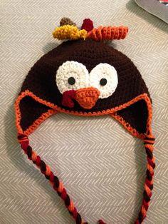 crocheted adult turkey hat