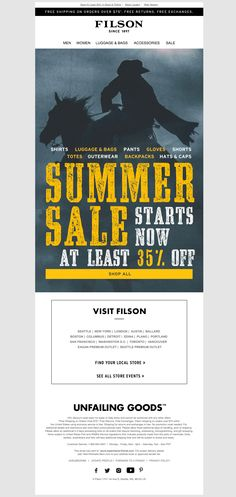 filson2 Email Design Inspiration, Email Newsletters, Shirt Sale, Bag Accessories, Finding Yourself