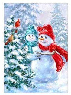 US Shipper Snowman Couple Cardinals Birds Christmas Diamond Painting Art Kit. by OurCraftAddictions Christmas Scenes, Vintage Christmas Cards, Christmas Pictures, Christmas Snowman, Winter Christmas, Christmas Crafts, Christmas Decorations, Christmas Ornaments, Snowman Images