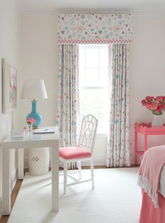 pretty pink and blue accessories, easy styling, great for girl's room or guest via House of Turquoise: Kerry Hanson Design