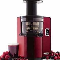 Omega Vertical Slow Masticating Juicer Makes Continuous Fresh Fruit and Vegetable Juice at 43 Revolutions per Minute Features Compact Design Automatic Pulp Ejection, Red. High Juice, Revolutions Per Minute, Canned Juice, Juicer Reviews, Cold Press Juicer, Juicer Machine, Best Juicer, Juice Extractor, Best Blenders