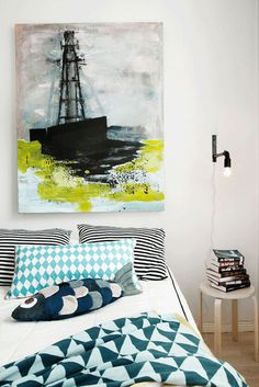 gorgeous bedding + art work