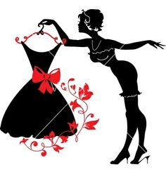 Pin up woman silhouette vector 1796007 - by Flamewave on VectorStock®