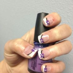 My wedding nails (: purple wedding ideas. love this. so getting purple bows next time i get my nails done.