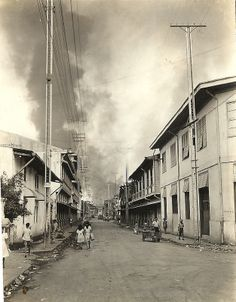 Nepomuceno street (formerly Tanduay street) corner Arlegui street, Manila 1945 Filipino Art, Filipino Culture, Philippines Culture, Manila Philippines, Ww2 Photos, Cool Photos, Interesting Photos, Treaty Of Paris, President Of The Philippines