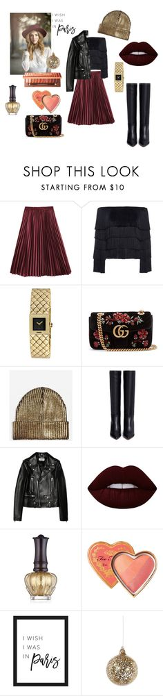 """Untitled #374"" by gloriatovizi on Polyvore featuring A.L.C., Chanel, Gucci, Topshop, Valentino, Yves Saint Laurent, Lime Crime, Anna Sui, Too Faced Cosmetics and Shishi"