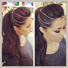 Head chain with styled ponytail Hairstyles For Gowns, Fancy Hairstyles, Indian Hairstyles, Wedding Hairstyles, Tikka Hairstyle, Headpiece Wedding, Bridal Hair, Hair Chains, Gold Chains