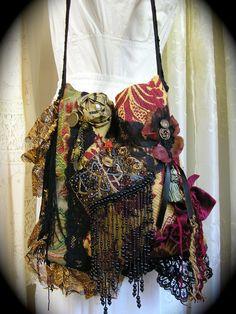 Gypsy Fringe Purse Victorian bohemian purse handmade by Dede of GrandmaDede on Etsy