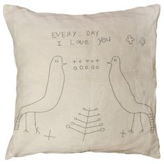 Sugarboo Designs Pillow Two Birds Stitched