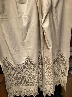 Antique Pr Edwardian French Tambour Needle Lace Curtain/drape Panels Early 1900s Other Antique Textiles Antiques