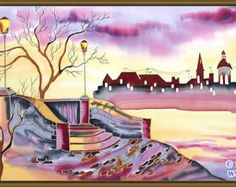 This original silk painting was designed and hand painted by the fine Artist Svetlana Titova on 100% China silk. The picture is in the painted light wood frame. Our works are is made with the highest quality of paint and guaranteed not to blur over time. Colors remain bright and vibrant regardless of age. Svetlanas artwork can turn any room into your favorite room. The Artist in her creativity combines ancient traditions in silk painting with modern styles and themes. Owning a piece of our…
