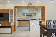more reasons than you'd know. One of the obvious advantages of having an open kitchen design is, that it facilitates Kitchen Design Open, Kitchen Cabinet Design, Kitchen Cabinets, White Interior Design, Interior Design Kitchen, Interior Modern, Home Decor Kitchen, Kitchen Furniture, Furniture Stores