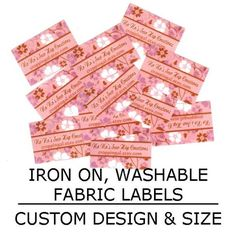 Ironon Washable Clothing tags Fabric Labels Custom by HoneyKLLC, $14.00