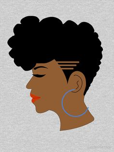 'Black Lady With Tapered Afro Cut and Shaved Sides' T-Shirt by blackartmatters Black Girl Art, Black Women Art, Art Girl, African American Art, African Art, African Women, Tapered Afro, Black Woman Silhouette, Rides Front