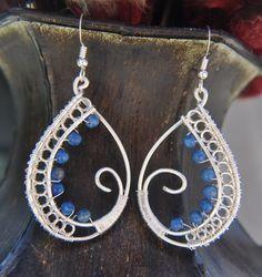 Paisley Earrings w?Lapis Lazuli Beads | JewelryLessons.com
