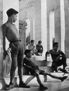 Herbert List  ITALY. Rome. 1951.  Youths on the steps of the Palazzo della Civilta del Lavoro.