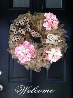 Ruffled Deco Mesh Wreath - Summer Wreath - Spring Wreath - Mothers Day Wreath - Hydrangea Wreath - Welcome Wreath - Housewares - home Decor on Etsy, $65.00