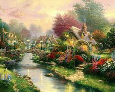 Thomas Kinkade Lamplight bridge painting is shipped worldwide,including stretched canvas and framed art.This Thomas Kinkade Lamplight bridge painting is available at custom size. Art Thomas, Beautiful Artwork, Bridge Art Paintings, Painting, Beautiful Paintings, Cottage Art, Pictures, Thomas Kinkade Paintings, Beautiful Art