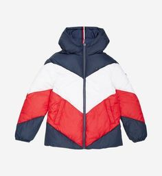 Tommy Hilfiger Reversible tricolor puffer jacket with hood Tommy Hilfiger, Preppy Style, Navy Style, Color Blocking, Colour Block, Puffer Jackets, Nike Jacket, Hooded Jacket, Chevron