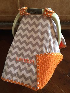Super Cute Baby Car Seat Covers CHEVRON in Grey by kitcarsonblue