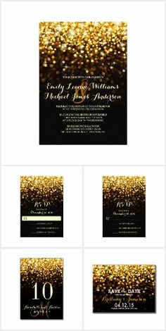"""Hollywood Glitz & Glam - Gold sparkles fading to a classic black background. For your  Hollywood themed wedding. """"Featuring *-Wedding Invitation -* RSVP Card - *Table Card- *Save the Date Postcard- *Reception Card- *Cocktail Napkins- *Chart Poster- *Rack Card- *Stickers- *Postage Stamps- *Business Cards- *Address Labels and more.--**EXPLORE an Amazing Collection of  """"Theme Matching Wedding Invitation Sets"""" by Visiting... http://www.zazzle.com/weddinginvitationkit"""