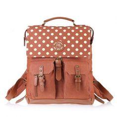 Polka Dot Hasp Denim Travel Bag Sch