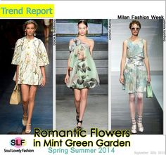 Romantic Flowers in Mint Green Garden. #Floral Pastel #Print Fashion #Trend for Spring Summer 2014 at Milan #Fashion Week #MFW #Spring2014 #Prints #Trends #Romantic